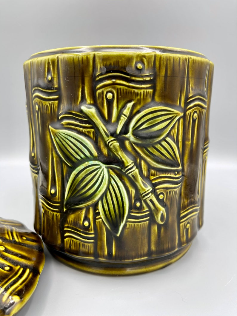 Vintage Green Bamboo Floral Cookie Jar