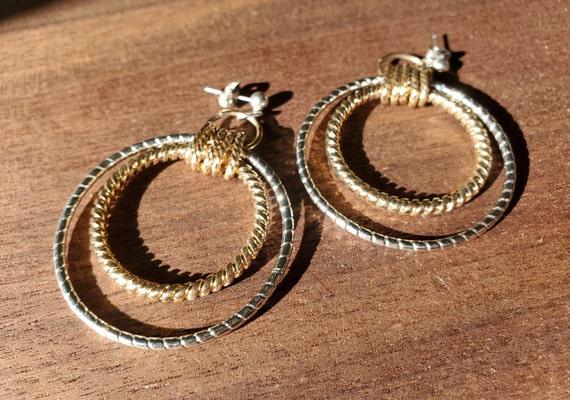 Gold and Silver Twist Drop Hoop Earrings