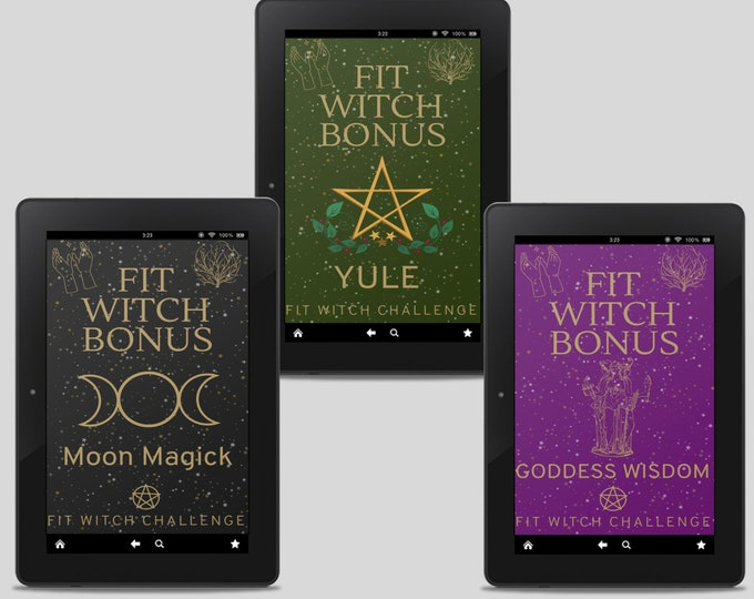 Bonus 3 Guide Bundle: Fit Witch Guides, Witchy Books, Witch Tips, Printables, Grimoire, Pagan, Yule, Moon Magic, Goddesses, Witchcraft
