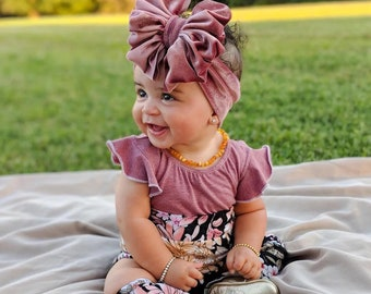 Oversized Bows Big Bow Headbands Vintage Floral Messy Head Wrap Baby Toddler Girl Baby Girl Big Bows