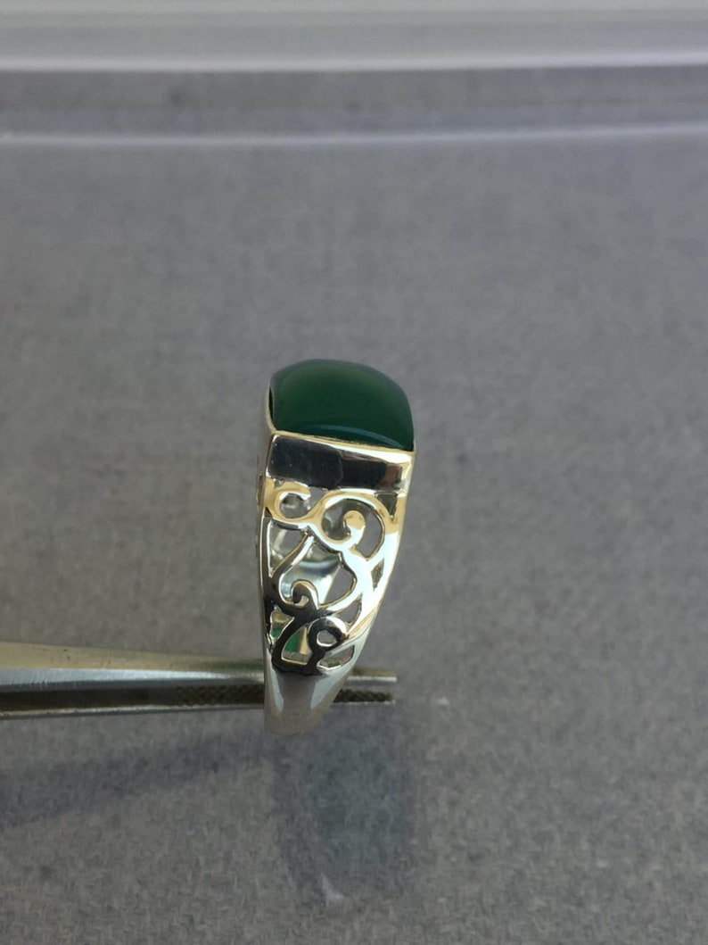 Anniversary Gift. Handmade Ring For Men And Woman 925 Sterling Silver Natural Green jade 6.50 Carat Ring