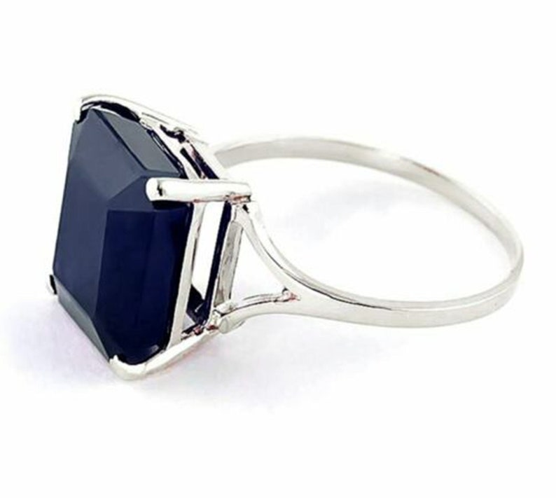 Anniversary Gift. 925 Sterling Silver Handmade Ring For Men And Woman Natural Blue Sapphire 7 Carat Ring