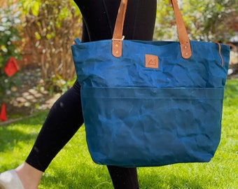 Ethically Made Bee-waxed Cotton Canvas Nirmala Tote Bag with Eco Leather   Eco-Friendly   Canvas   Bee-waxed   Vegetable Tanned Leather