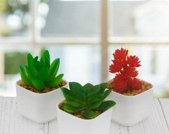 3 Pieces 5x4cm Artificial Succulent Flower in Pots