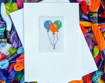 Birthday Balloons Cross Stitch Card / Happy Birthday Balloons / Custom Cross Stitch / Happy Birthday Card / Cross Stitch Balloons