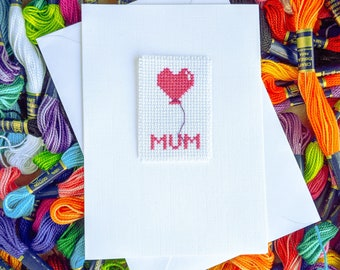 Mum Birthday Card / Mother's Day Card / Cross Stitch Mum / Happy Birthday Mum / Cross Stitch Card / Mum Card / For Mum /  For Her