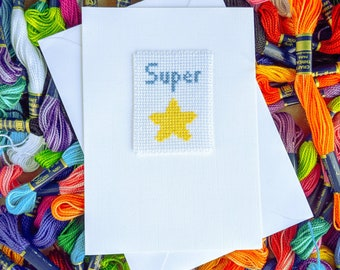 Super Star Greeting Card - Cross Stitch Super Star