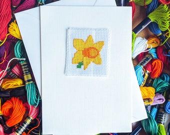 Daffodil Card Handmade - A6 Card - Daffodil Cross Stitch