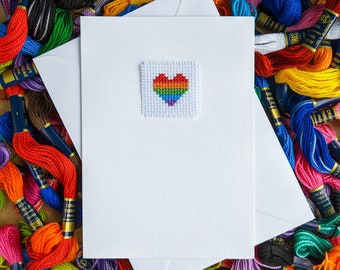 Rainbow Heart Handmade Cross Stitch Card