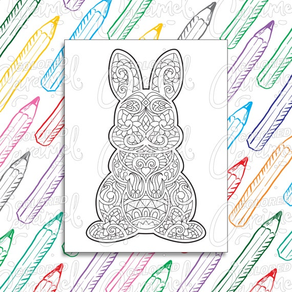 Easter Coloring Page Digital Download PDF with Cute Bunny
