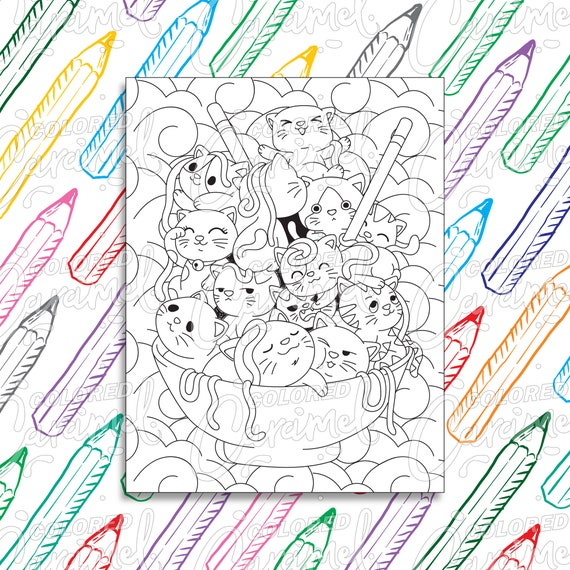 Kawaii Coloring Page Digital Download PDF with Cute Cats in