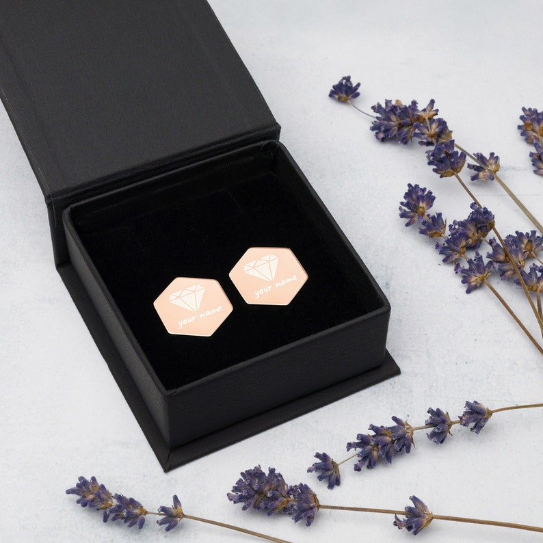 mothers day gift from daughter in law,Silver Hexagon,Elegant diamond Earrings,Stud Earrings with jewelry box,personalized gift