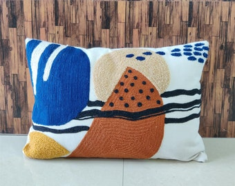 Boho Cushion Cover 14x20 Lumbar Pillow cover 100/% Cotton Textured Multicoloured Crewel Embroidered Pillow Cover Decorative Pillow