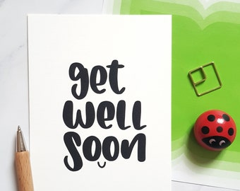 """Postcard """"Get well soon""""   Hand lettering greeting card natural paper """"Good recovery / Fast recovery"""""""
