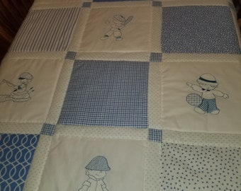 Blue and White baby boy quilt