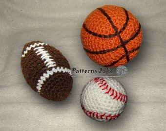 Toy BasketBall, Football, Base ball, Crochet Pattern; A Free Pattern of Xmas Onament Included