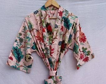 Multi Floral Bath robe Cotton Robe,Kimono Dressing Gown Floral Print Bath Robe Women Night Wear Suit Long Kimono Mustard Women Night Wear