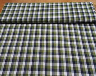 Woven Gingham 100% cotton shirt fabric in green (this is not a printed cotton)
