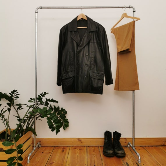 clock house leather jacket double breasted coat vi
