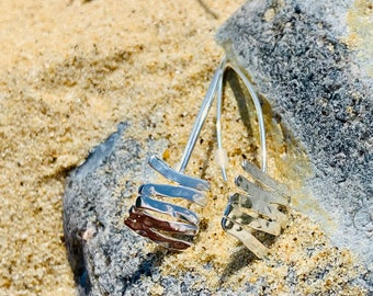 Coastal Textures, Ripples in the sand collection, Sterling Silver Handmade, Drop Earrings.
