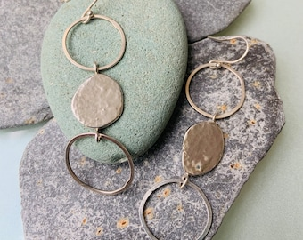 Three Sphere Circle, Drop Pebble Earrings, Handmade in Sterling Silver, Organic Styling, Nature Inspired