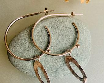 Sterling Silver, Boho, Hoop Earrings, Textured, Handmade with Organic Leaf Charm.