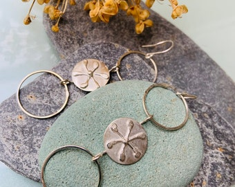 Sterling Silver, Three Sphere Circle Drop Earrings, Handmade, Unique and Original Organic Design, Nature Inspired, Flower Pattern.