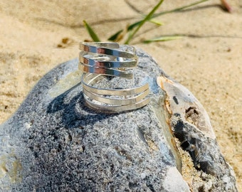 Coastal Textures, Ripples in the Sand, Inspired Hoop Earrings, Handcrafted in Sterling Silver.