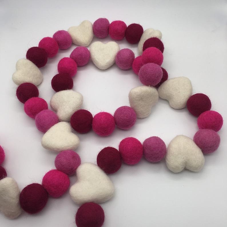 Felt Heart Garland Pink Ombr\u00e9 Valentine/'s Day Garland White Felt Heart Garland Galentine\u2019s Day Garland