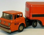 Vintage Japanese LineMar (Marx) Tin Friction 1960 39 s quot Allied Moving quot Truck w Trailer (c.1960-1965)