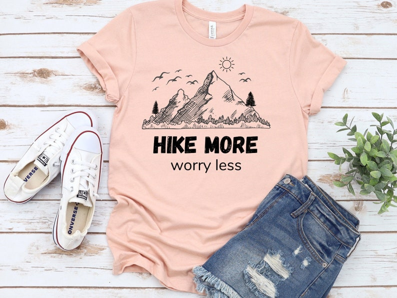 Forest t shirt Hike more worry less Hiking graphic tee Hiking t shirt Camping shirt Mountain tshirt Nature lover gift Adventure shirt