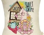 Spring Summer Farmhouse Decorative Throw Pillow Case Pink Gnome Sweet Gnome Sign Pillow Case Rustic Tulip Daisy Sunshine Farm Decoration
