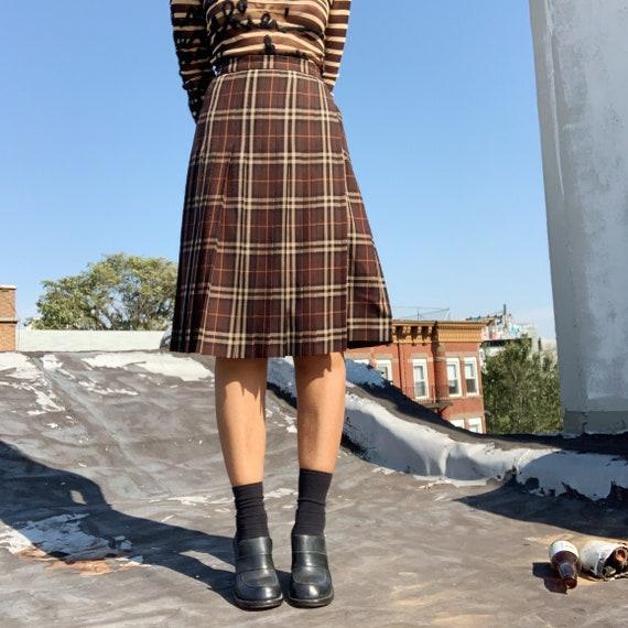 Vintage Burberry Pleated Plaid Skirt