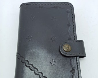 Men/'s Pocket Wallet with Inner Compartment Man Bag Accessory from France Vintage French Unused Black Leather Folding Money Coin Purse