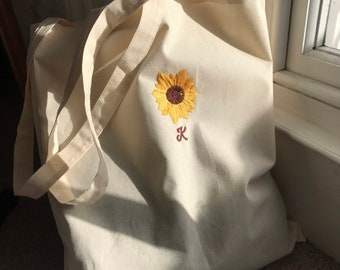 Personalised Sunflower tote hand embroidered
