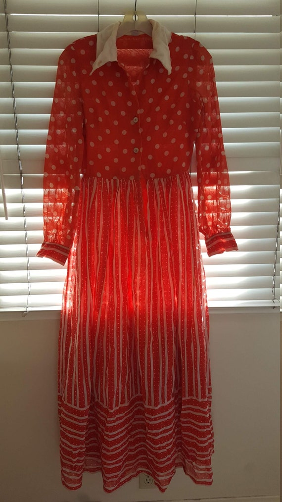 Vintage 1970s Red Gunne Sax Style Maxi Dress