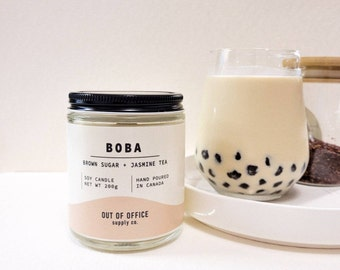 NEW - BOBA Soy Candle   Brown Sugar + Jasmine Milk Tea   Bubble Tea Scented Soy Candle   Wood Wick Candle   Birthday Gift   Made in Canada