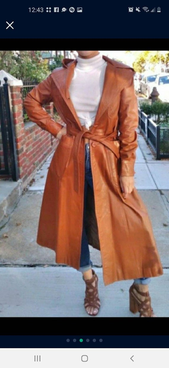 Vintage 70s brown leather trenchcoat