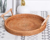 Hand-Woven Round Rattan Tray Fruit Snacks Storage Basket Organizer with Handle Autumn woven storage tray snack fruit tray
