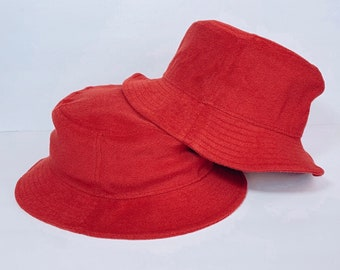 Bucket hat, Terry cloth bucket hat for adults and kids, Luxury summer hat, Unisex korean style bucket hat, Top quality red designer inspired