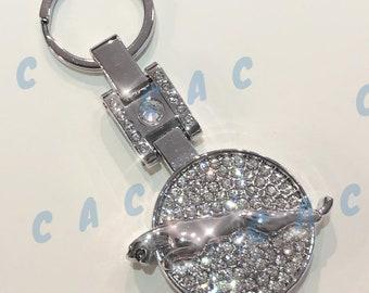 Jaguar black leather and acrylic key ring