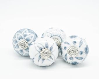 GREY Ceramic Knobs, Handpainted Vintage Wardrobe handle Drawer knob Cabinet pulls handles  2/4/6/8/10/12/14/16/18/20/25 B06