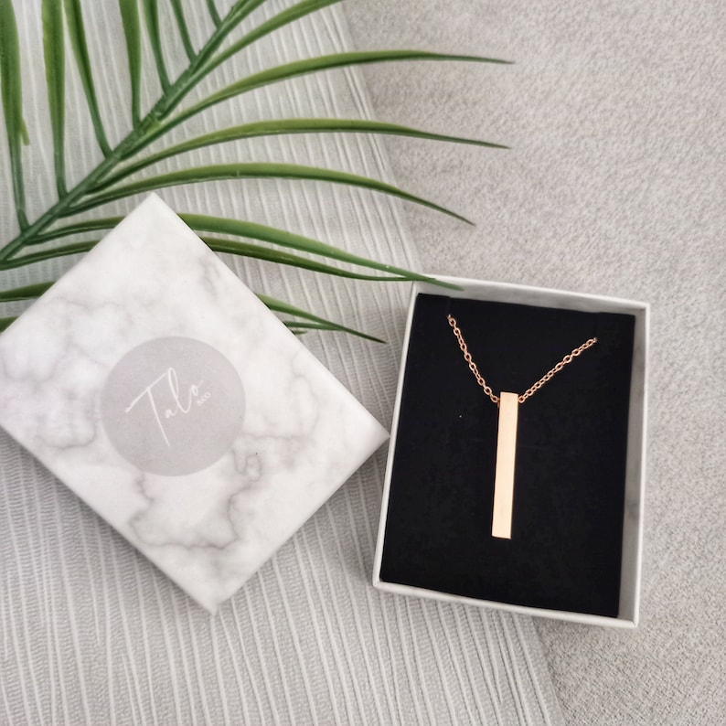 Best Friends Rose Gold 3D Bar Necklace Mothers Day Jewellery Gift For Her Good Luck Birthday Bridesmaid gift Christmas gift