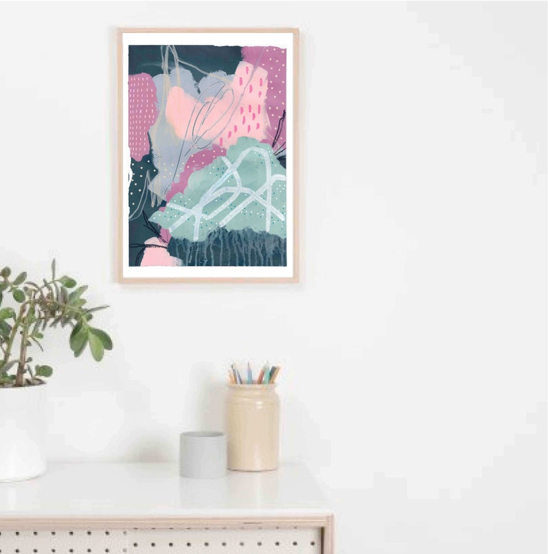 Abstract Art Print  A3  Limited Edition  Pink Green White image 0