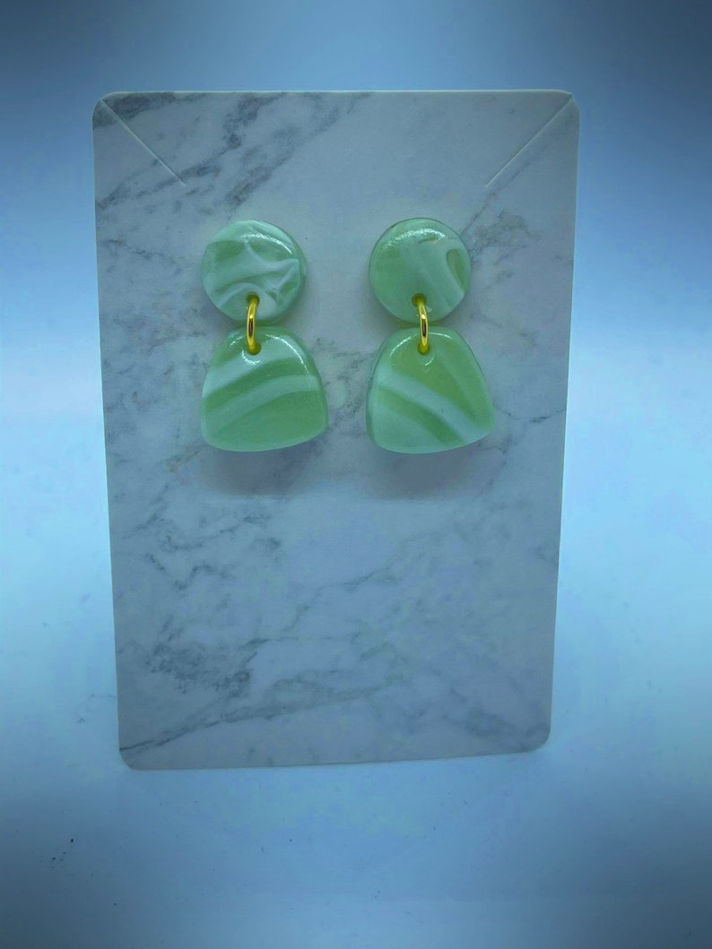 Jade green Dangle earrings  Polymer Clay  Gifts for her  Mother\u2019s Day  Spring  Earrings  Clay earrings