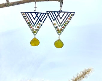 Super cool silver triangle earrings with small Unakit beads and chalcedony drops in yellow-green-khaki tone