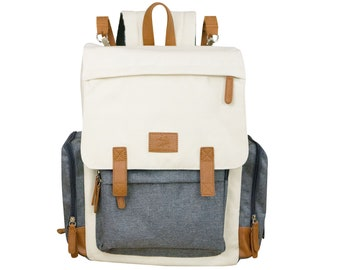 Organic Cotton Canvas Baby Diaper Bag, Insulated Backpack With Change Pad, Waterproof Vegan Leather Rucksack