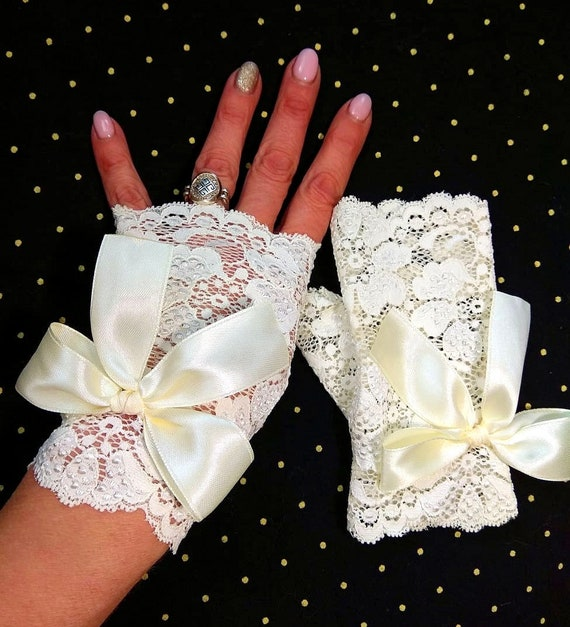 lace fingerless gloves for bride lace stretch , gloves white bride accessories