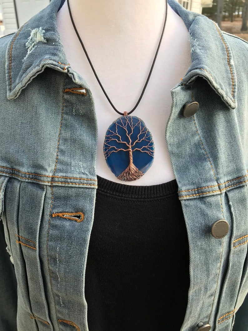 \u201cBrighton\u201d Agate Slice /& Copper Wire Wrapped Pendant Tree of Life Handmade with Adjustable Leather Cord
