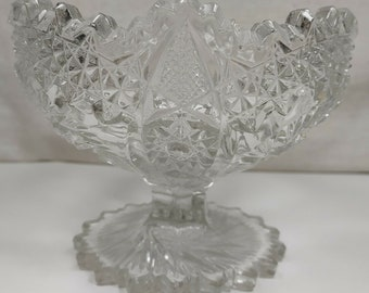 Fans and File Print Diamonds Antique EAPG Glass 9.75 Cake Stand with Whirling Stars
